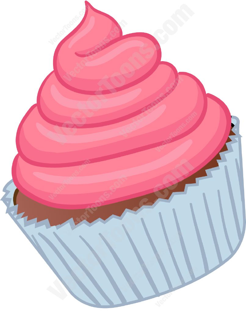 Cupcake with pink swirled frosting | Stock Cartoon ...