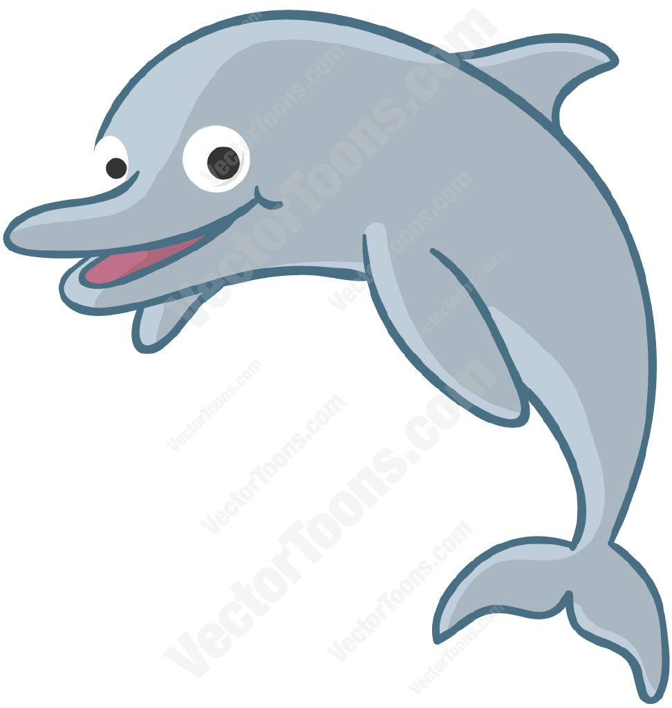 Dolphin jumping in the air • Vector Graphics • VectorToons.com