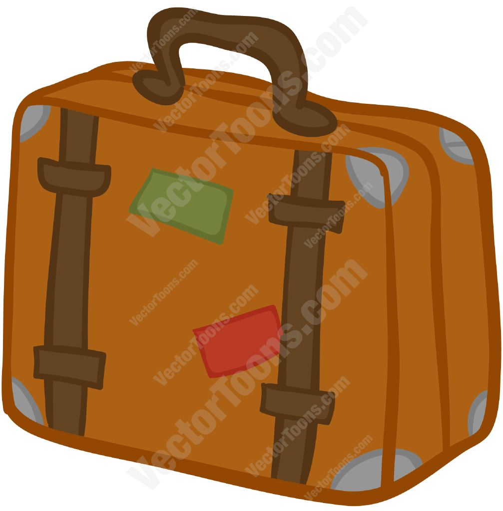 Brown Suitcase With Stickers On It Stock Cartoon Graphics Vector Toons