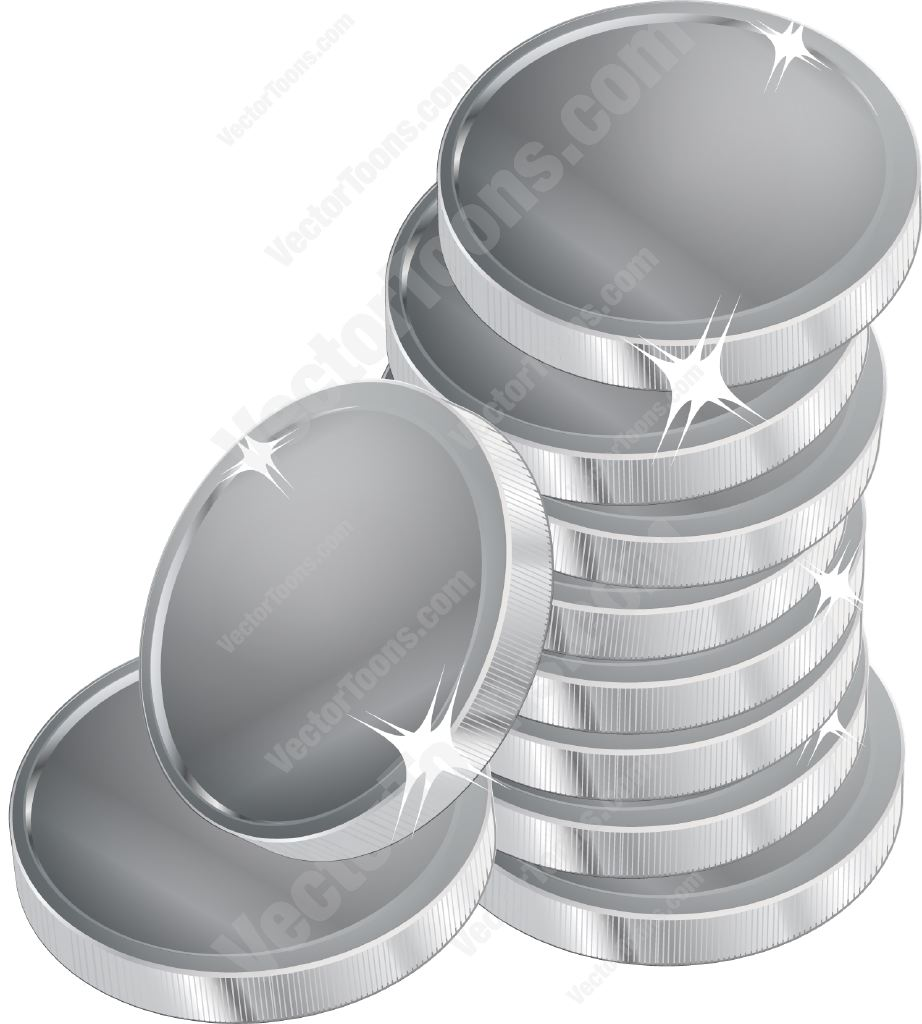Stack of Coins Vector Stack of Silver Coins
