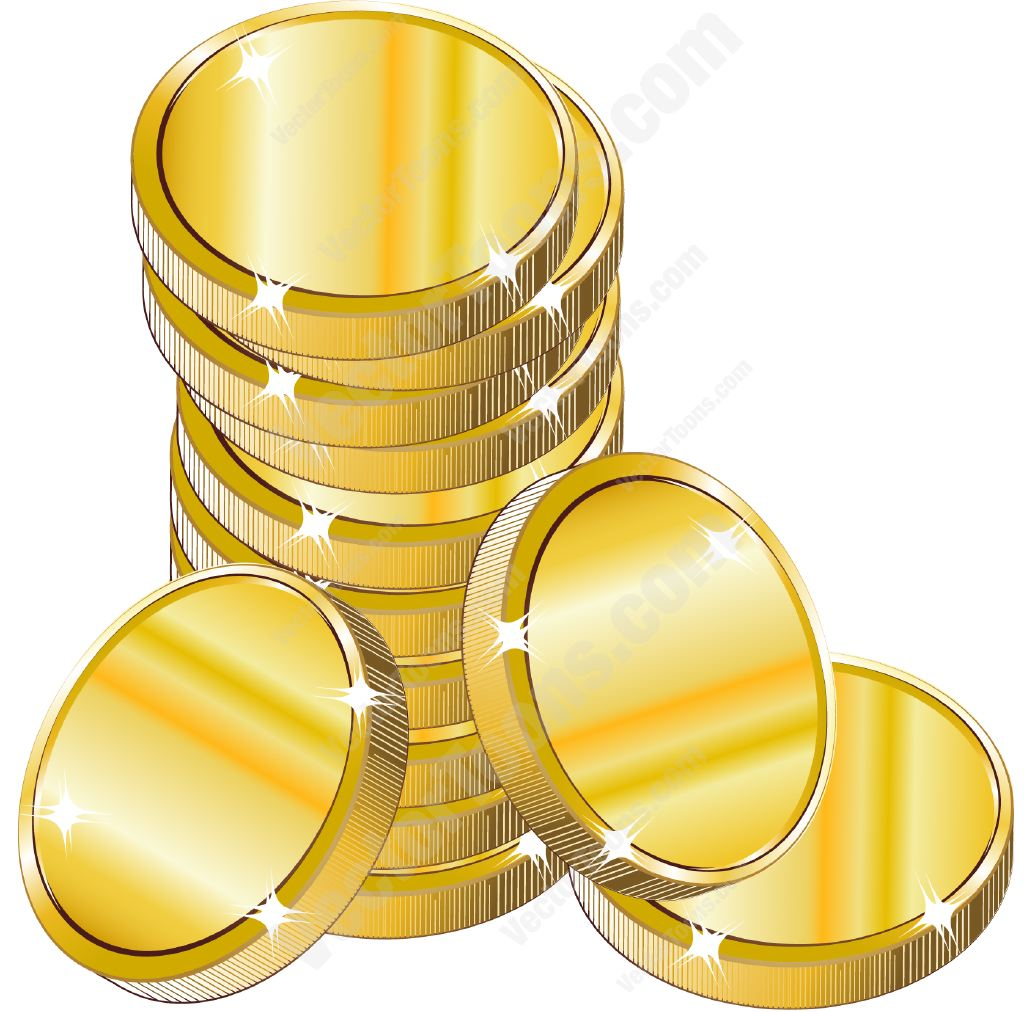 Stack of Coins Vector Stack of Gold Coins