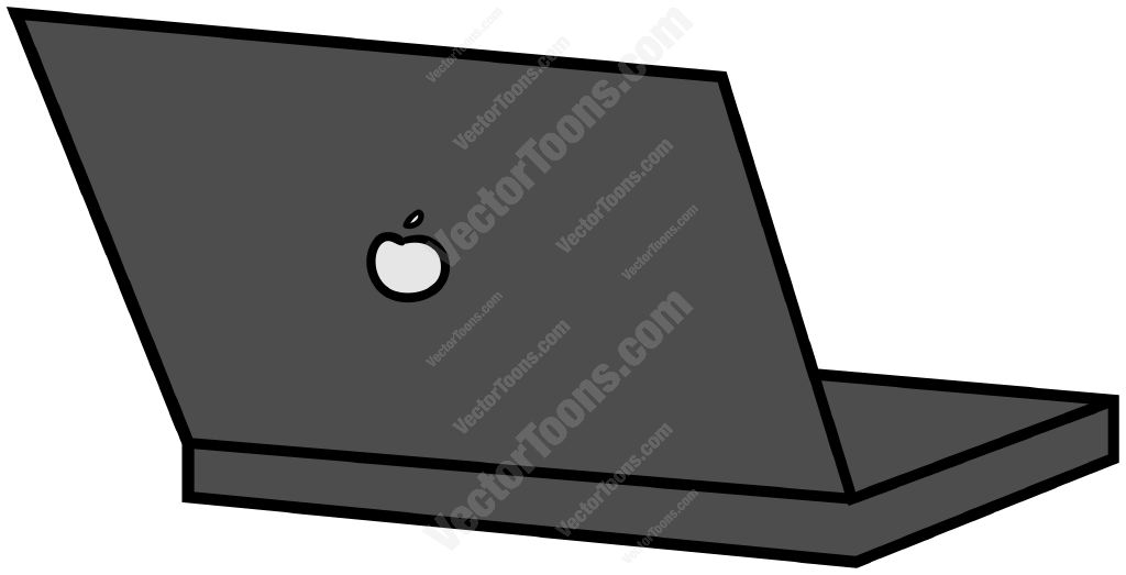 Back View Of An Open Laptop Computer Stock Cartoon
