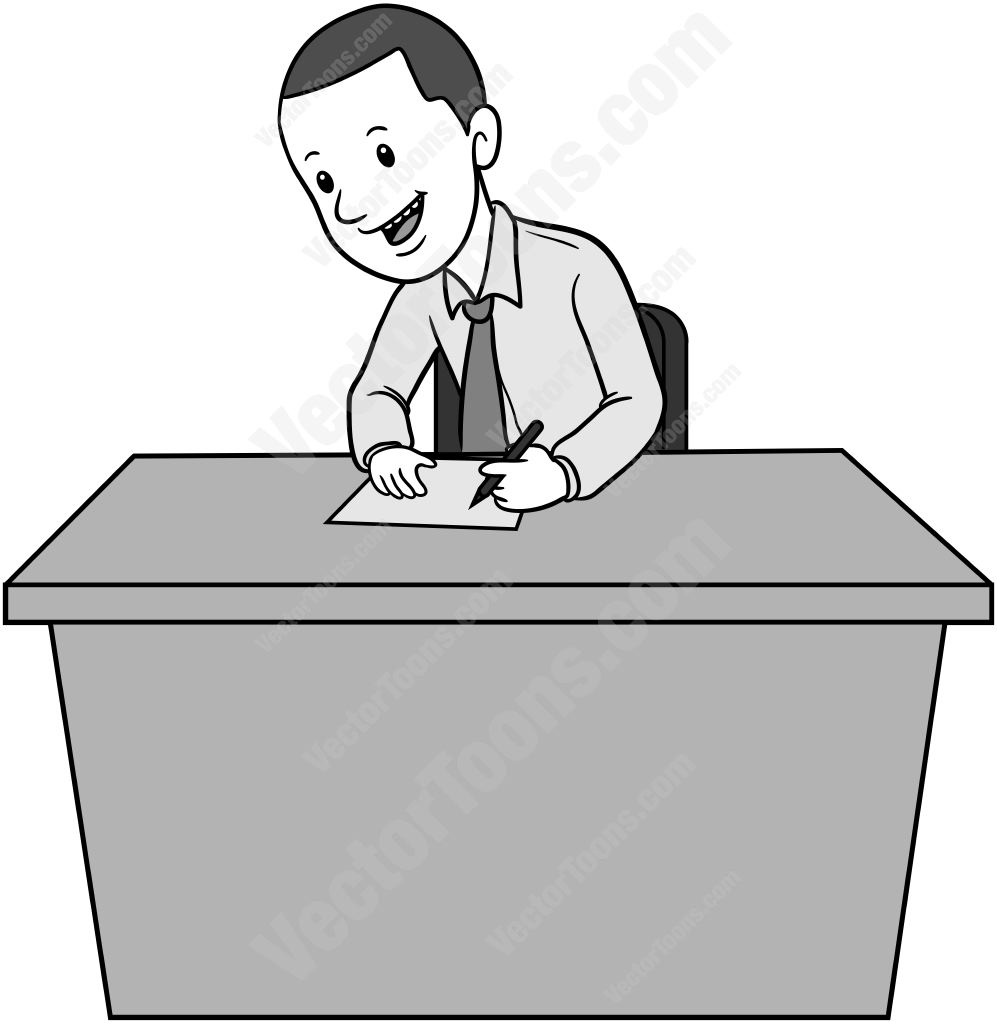 Man sitting behind a desk writing on a piece of paper