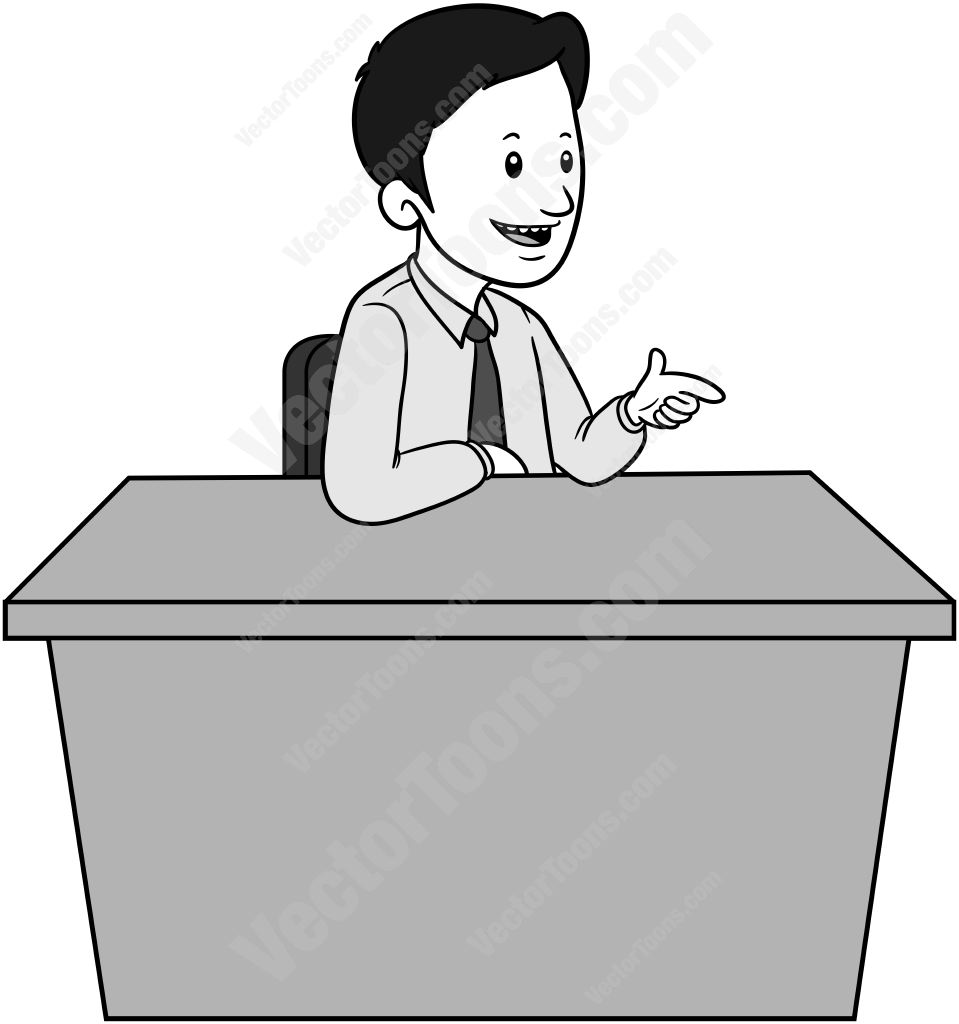 Man sitting behind a desk with one arm on the desk and the other hand pointing