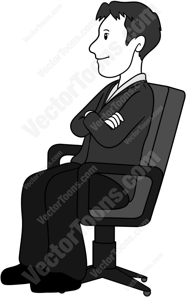 Side view of a man sitting in an office chair with his arms folded