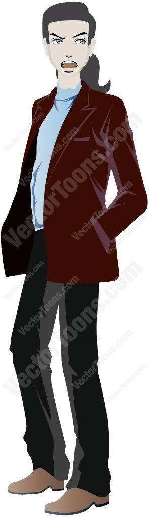 Man with a ponytail wearing black pants a blue turtle neck and burgundy sport coat