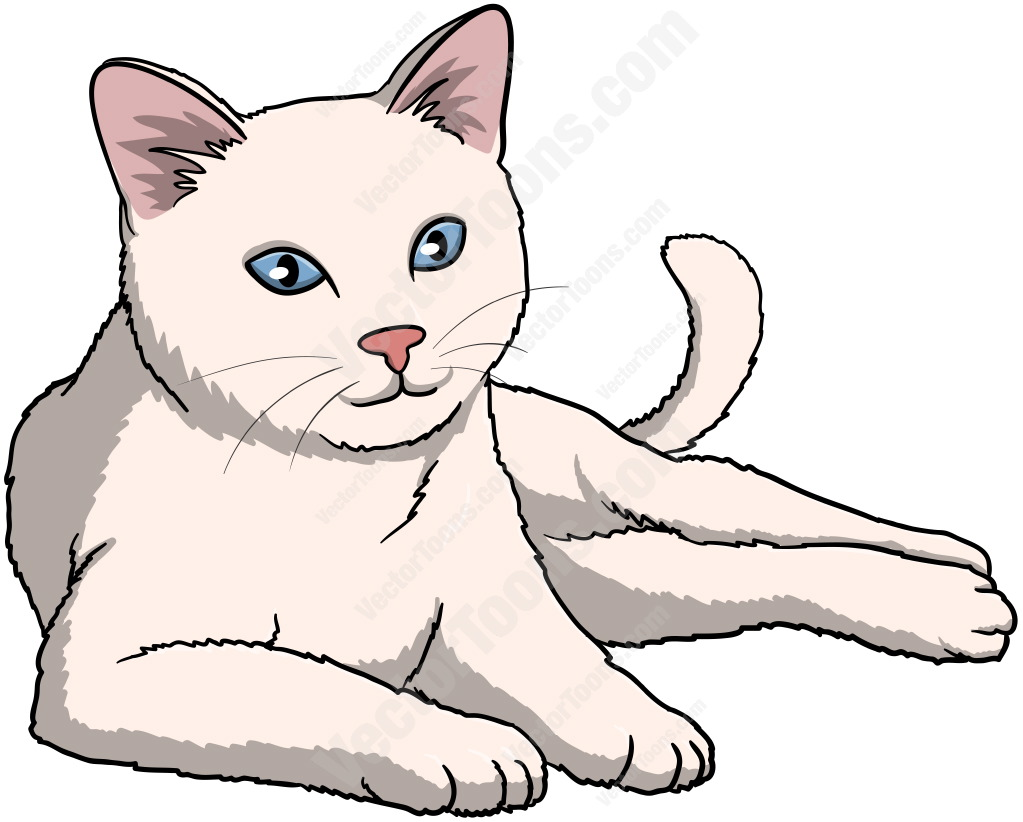White Cat With Blue Eyes Lying Down And Looking Ahead