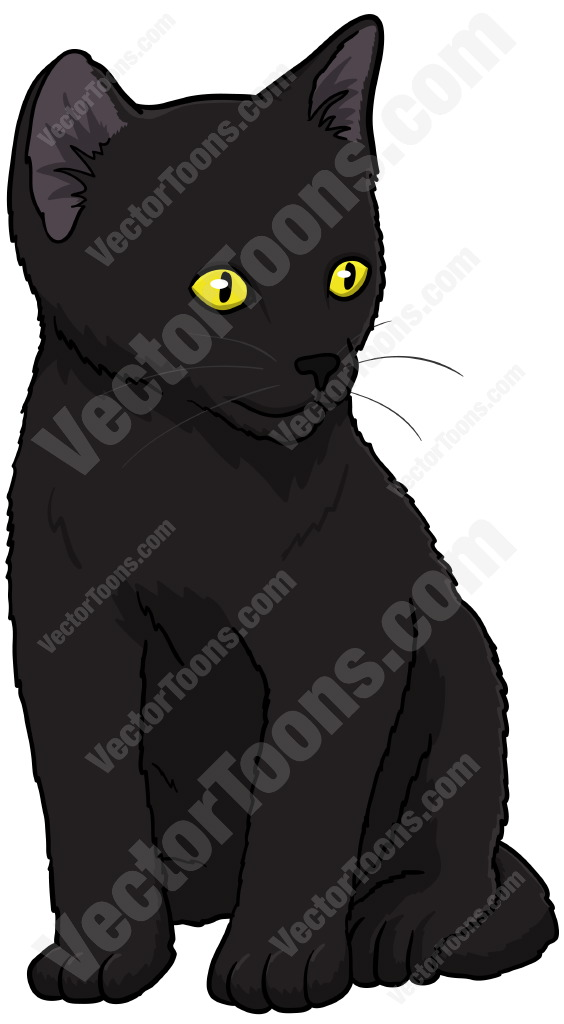 Black kitten with yellow eyes looking down and to the side