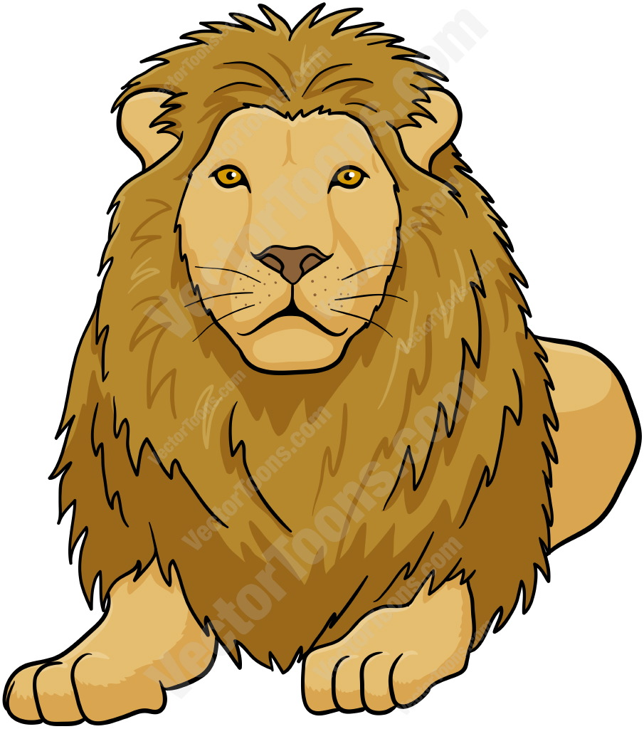 Male Lion Lying Down | Stock Cartoon Graphics | Vector Toons