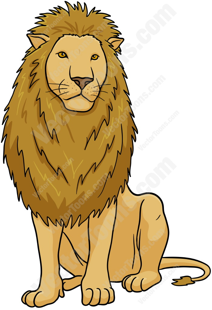 Male lion sitting | Stock Cartoon Graphics | Vector Toons