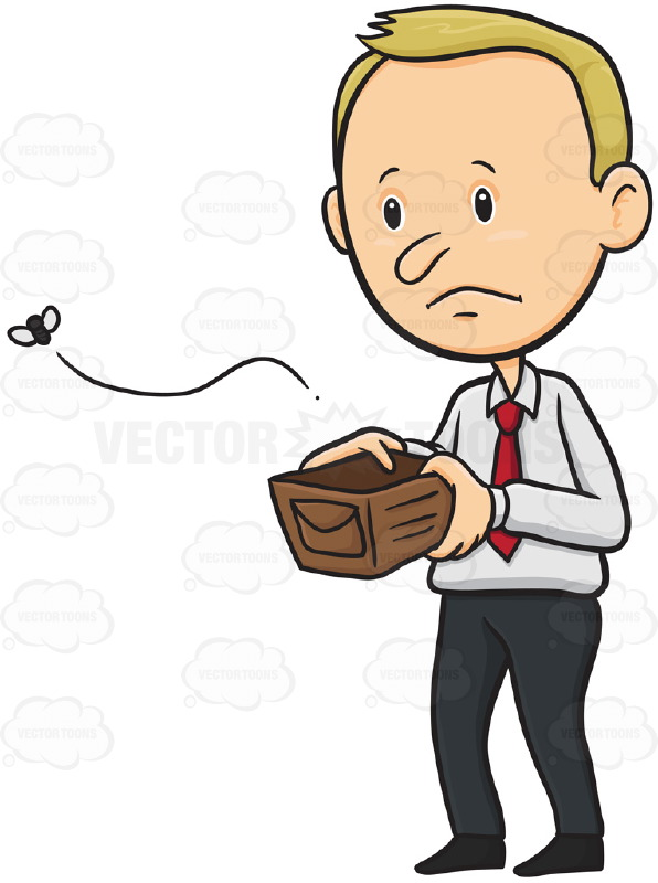 Sad Man Holding Empty Open Wallet With Fly Escaping From It