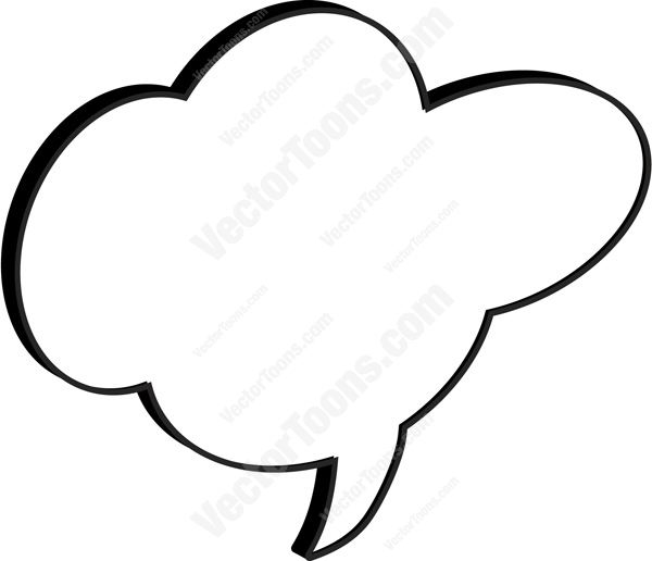 Cloud Cartoon Talk Bubble With Middle Tail
