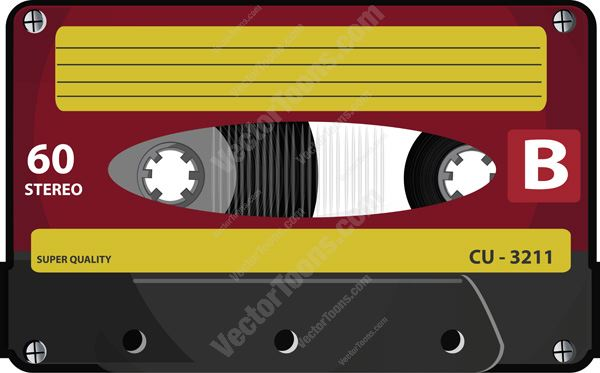 Yellow And Burgundy Audio Casette Tape With 60 Minute Side B Sticker
