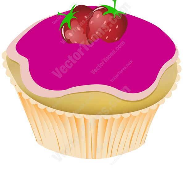 Pink Glazed Frosted Vanilla Cupcake With Strawberries On Top