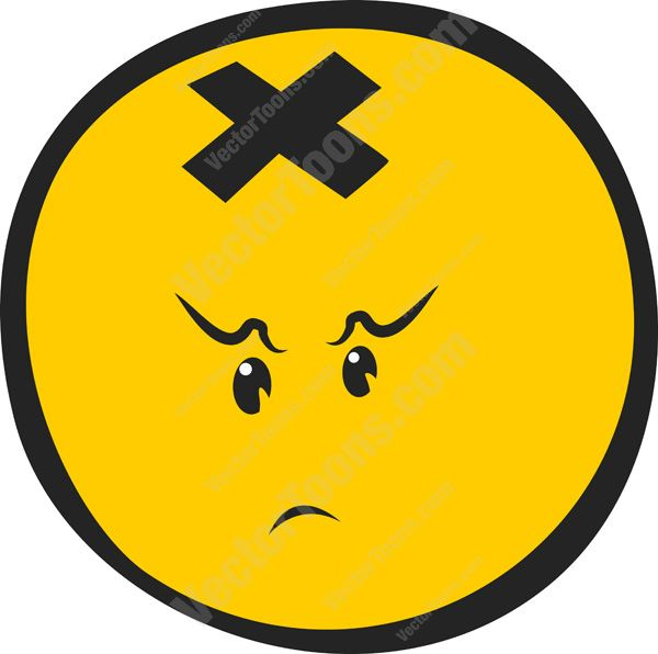 Concerned, Judging Emoticon Face With X On Top Of Head
