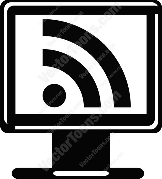Rss Reader Feed Symbol On Computer Screen Icon Vector