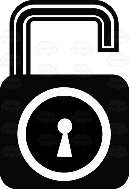 Unlocked Security Key And Lock Black And White Computer Icon