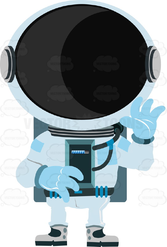 Astronaut In Space Suit With Closed Helmet Waving