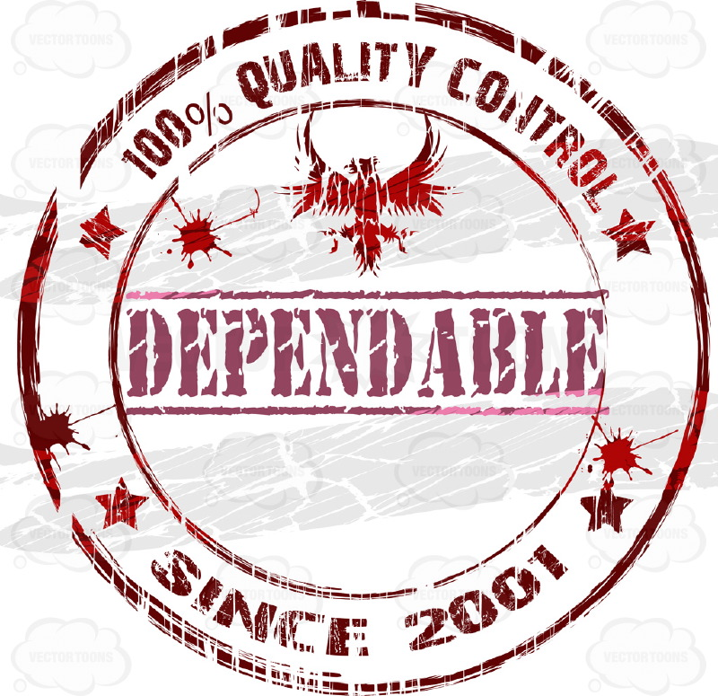 "Eagle With Outstretched Wings With Large Word ""Dependable"" Below It and Words 100% Quality Control Typed Around Circle With Random Ink Splatter Drops And Stars Dark Red Color Worn Rubber Ink Stamp"