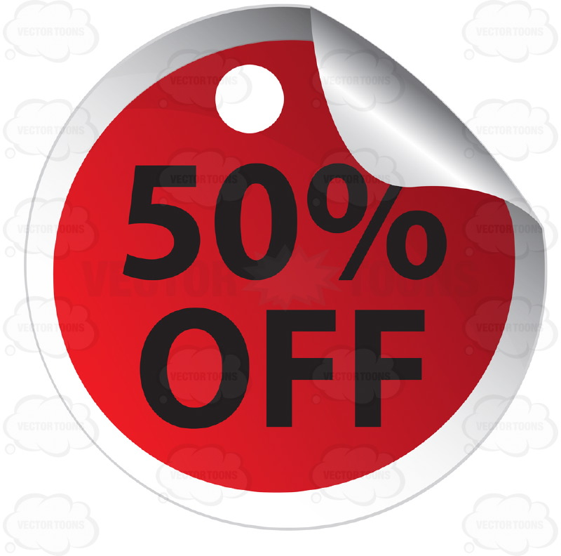 50% Off  Round Red Sale Price Tag Sticker With Curled Edge