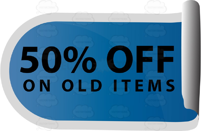 50% Off On Old Items Curled Up Sticky Tag In Blue