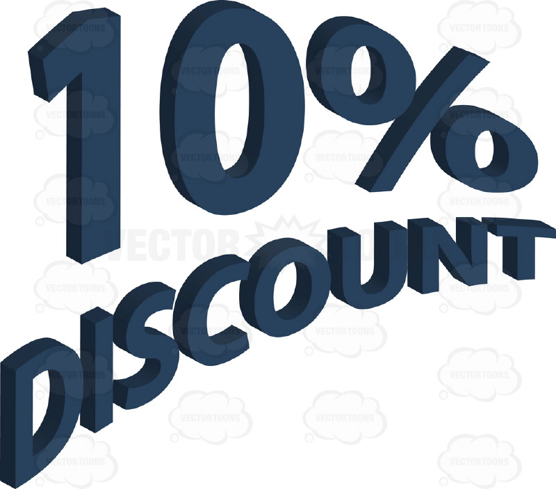 10% Discount 3D Curved Words In Blue