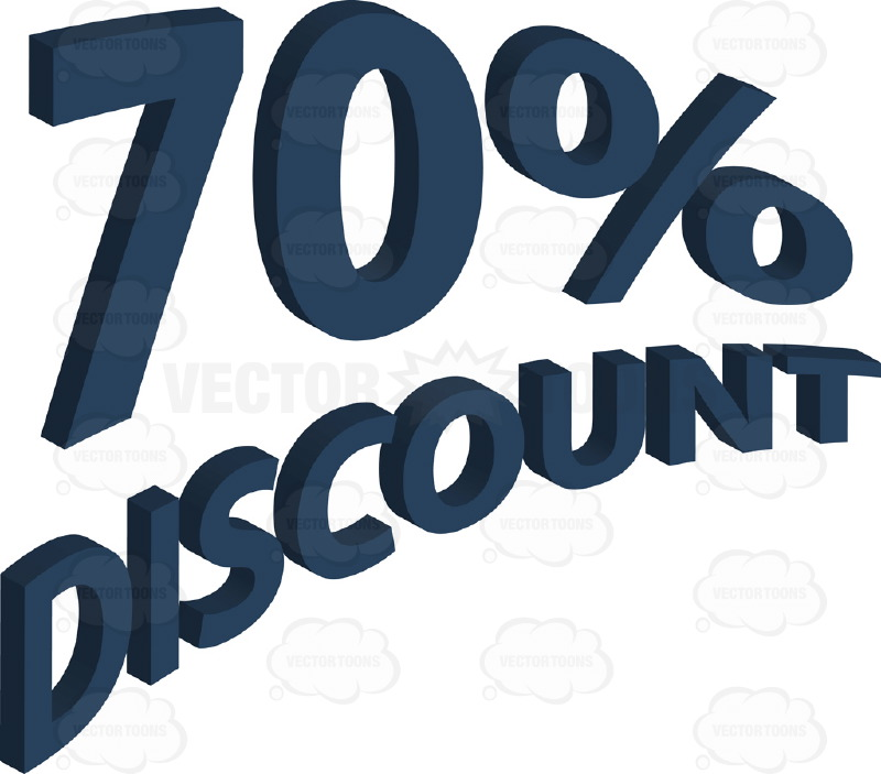 70% Discount Upwards Angled Words With 3D Drop Shadow Effect In Dark Blue