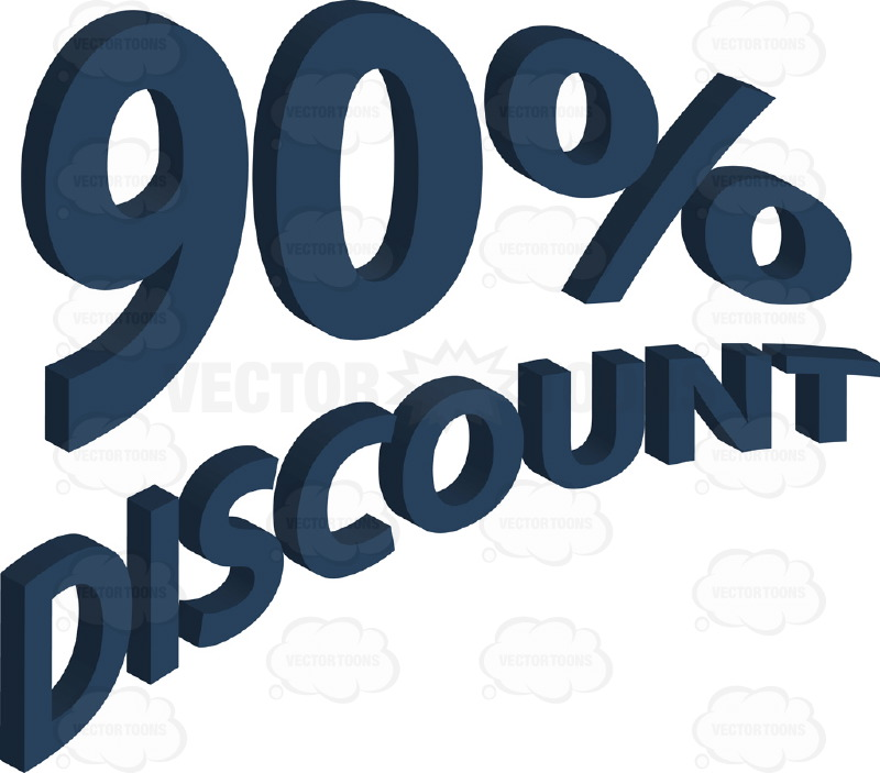 90% Discount Upwards Angled Words With 3D Drop Shadow Effect In Dark Blue
