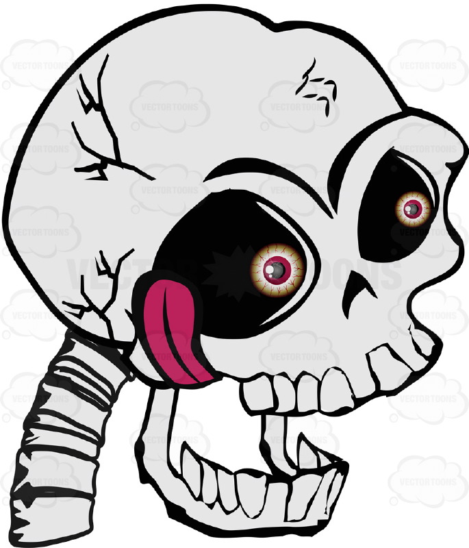 Cartoon Human Skull With Mouth Open Hanging Tongue Bloodshot Red Eyeballs And Vertebrae Spine