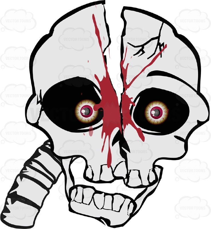 Cartoon Skull With Split Halved Head Gushing Blood Straight On Look With Attached Neck Bones