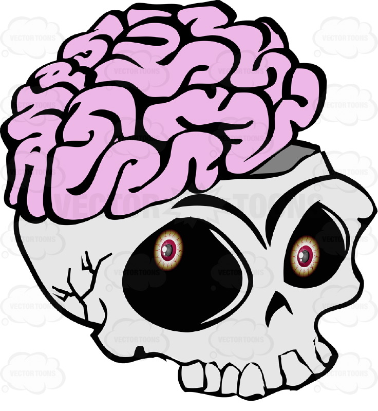Cartoon Skull Open Showing Exposed Brain Overflowing Missing Lower Jaw