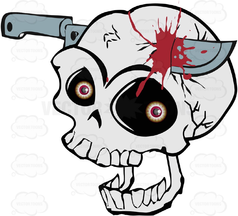 Screaming Cartoon Skull With Knife Stuck in Skull And Blood