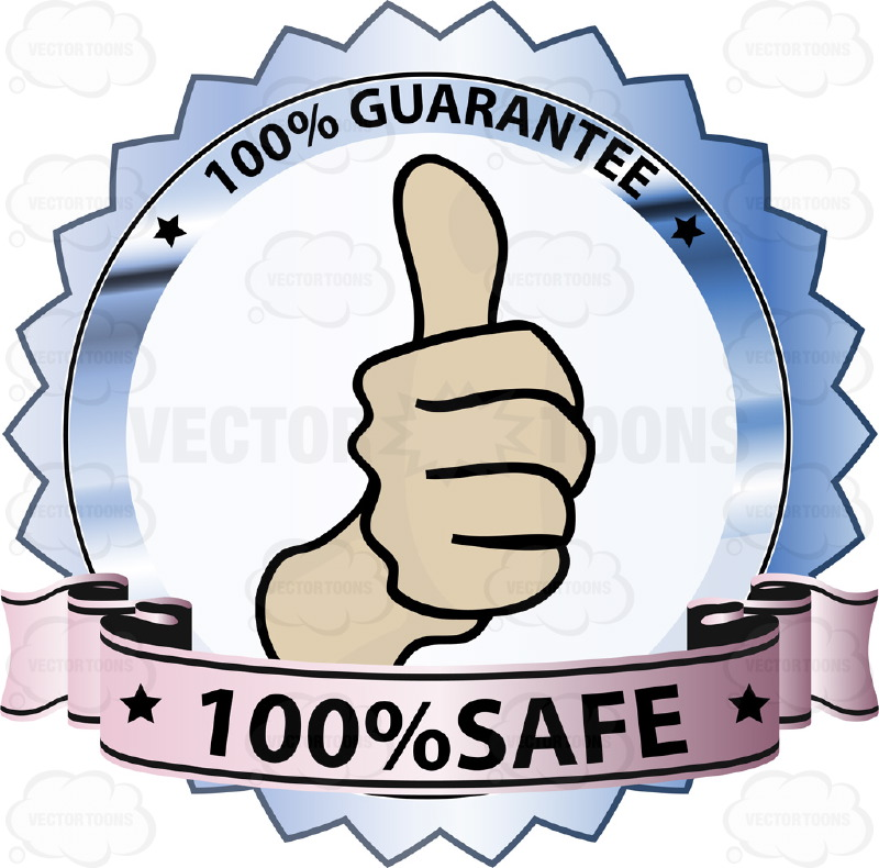 "Fist  With Thumbs Up In Center of Blue Reflective Badge With ""100% Guarantee"" In Border And ""100% Safe"" on Purple Gradient Ribbon Scroll"