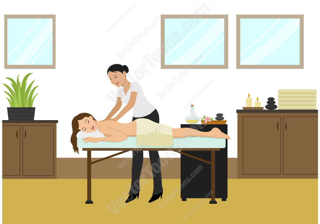 Brunette woman lying down on her stomach getting a back massage