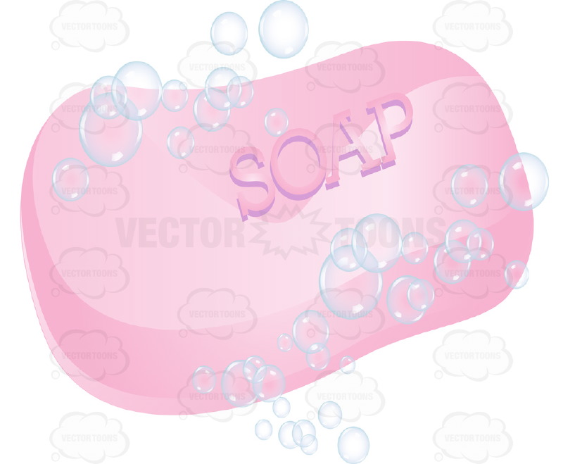 Pink Bar of Soap With Soap Bubbles Around It