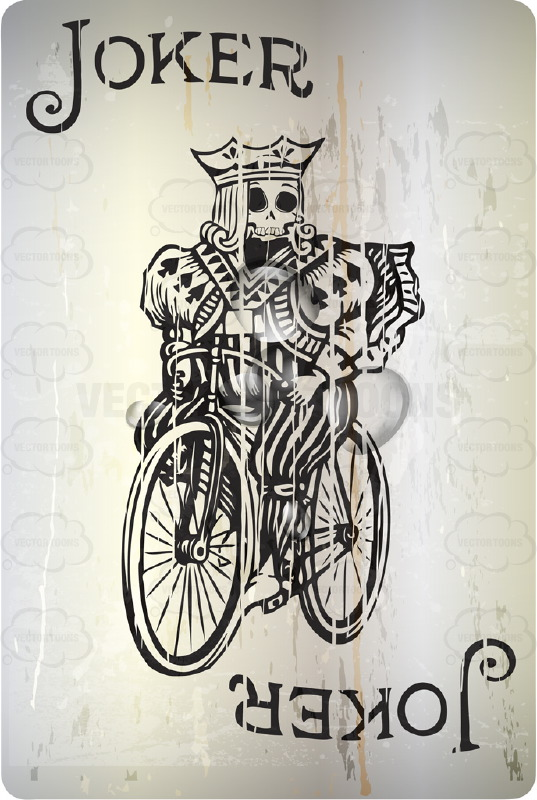 Grungy Black Jocker With Skull Face Riding Bicycle Playing Card