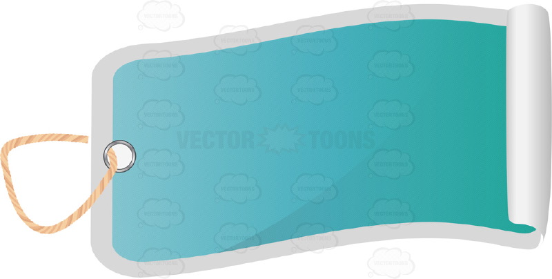 Wavy Blue Rectangle Blank Hang Tag With Hole Punched, String, 3D Shadow Effect And Rolled Edge
