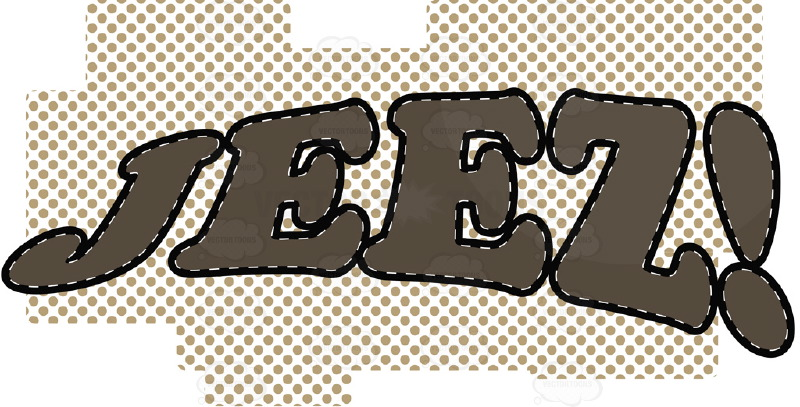 "Comic Cartoon Word ""Jeez!"" In Brown With Brown Dots In Background"