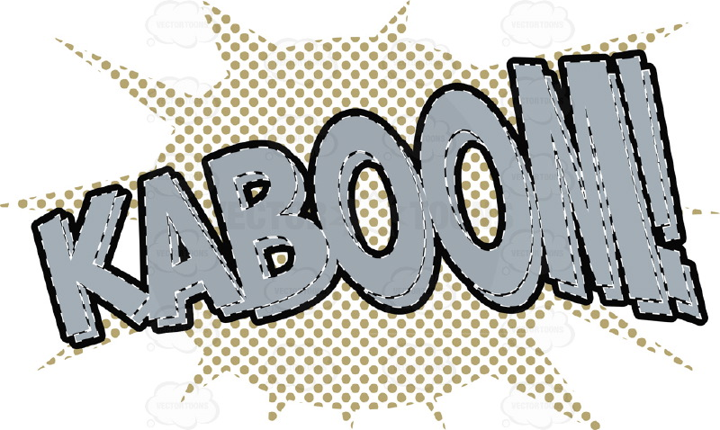 "Comic Cartoon Word ""Kaboom!"" In Red With Brown Halftone Dots In Background"