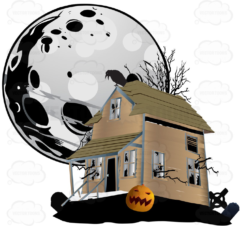Halloween Scene - A  Haunted House Sits With Cemetery Grave Stones, Pumpkins and Ravens, A Ghostly Full Moon Hangs Large In The Background Sky