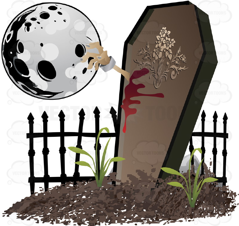 Halloween Scene - An Undead Arm Smaches Out Of A Standing Coffin In A Grave Yard With Dripping Blood And A Full Moon
