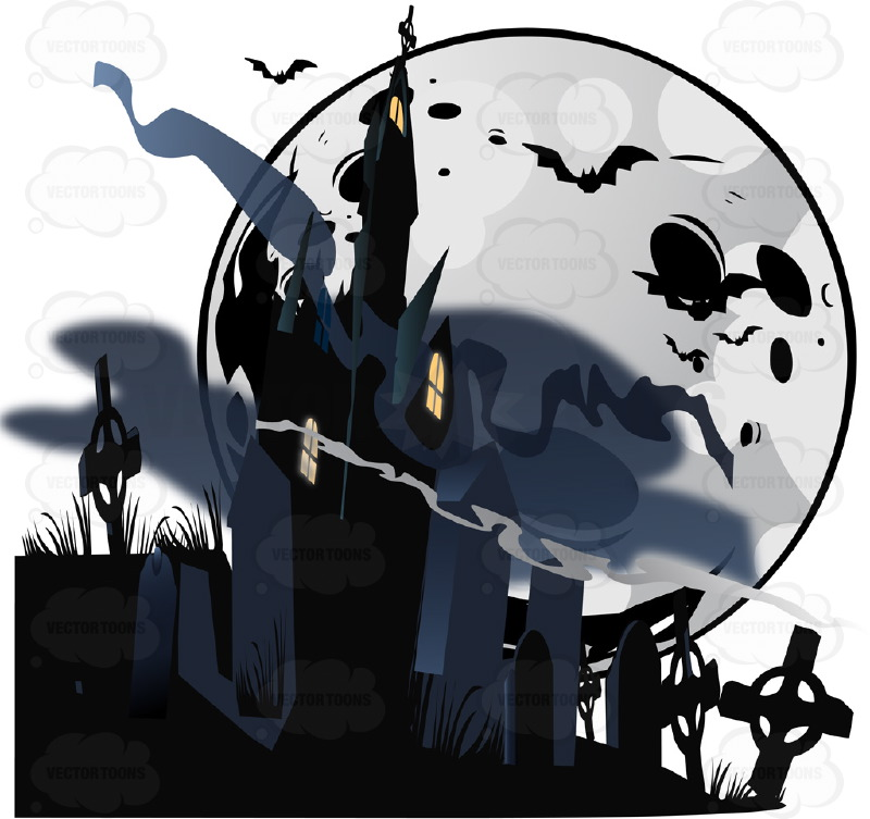 Halloween Scene - A Black Shadowy Haunted House Sits In Dark Fog Mist Surrounded By Cemetery Grave Stones With A Moon And Bats In Background