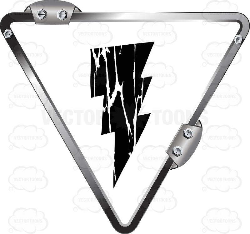 Black Lightning Bolt On White Inside  Upside Down Grey Metal Triangle