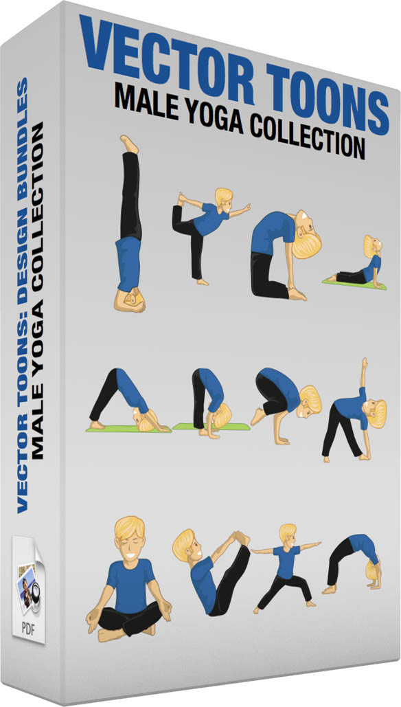 Male yoga collection | Vector Cartoon Graphics | Vector Toons