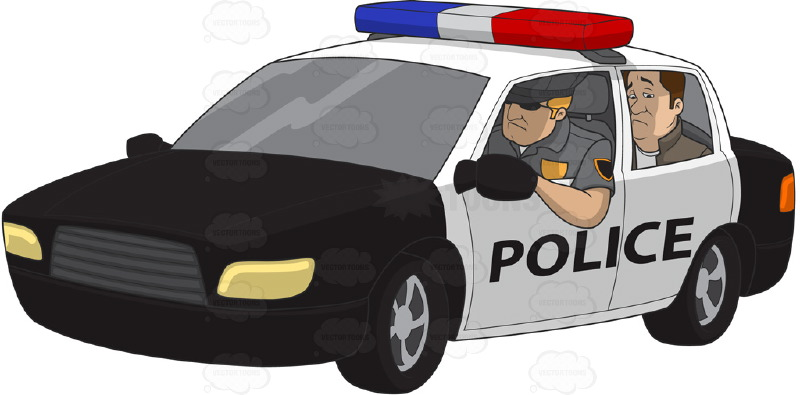 ... in the back of a police car | Stock Cartoon Graphics | Vector Toons
