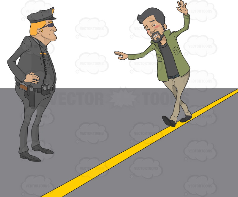 Police officer giving a Hispanic man a sobriety test