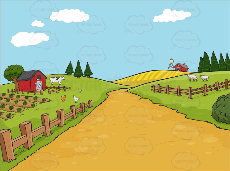 Cartoon vegetable garden background garden vector vegetable - Country Farm Background Vector Graphics Vectortoons Com