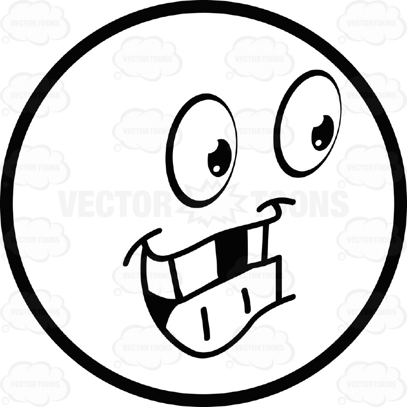Grinning Toothy Large Eyed Black and White Smiley Face Emoticon