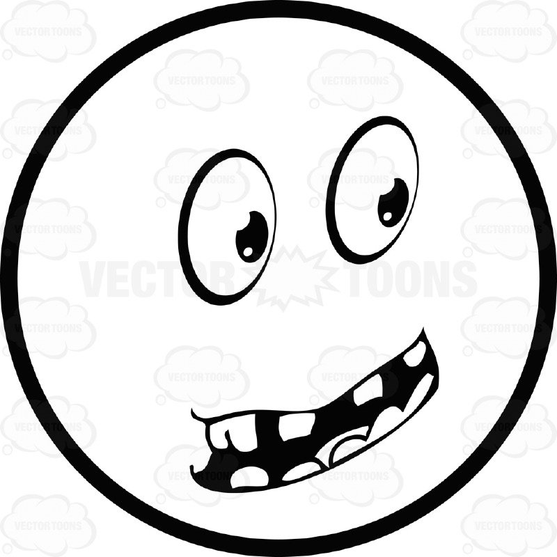 Large Eyed Black and White Smiley Face Emoticon Serious, With Toothy Open Mouth