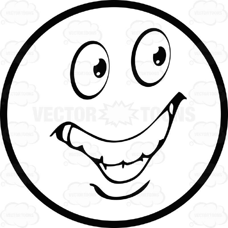 Ecstatic Large Eyed Black and White Smiley Face Emoticon With Large Ear To Ear Grin